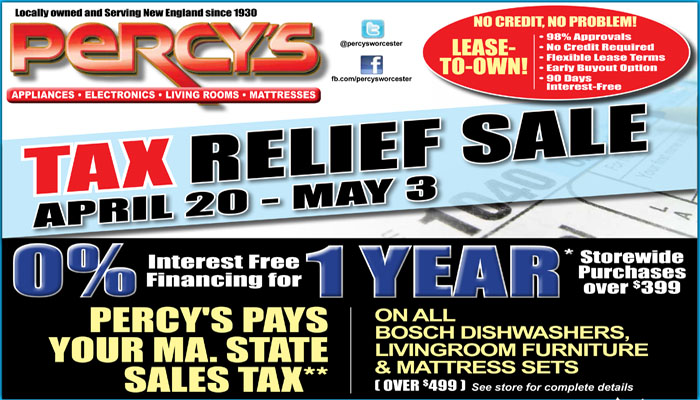 Percy's Pays your MA. Sales Tax