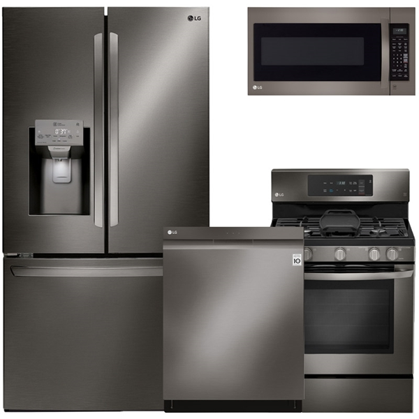 Beau 4 Piece Appliance Package   Black Stainless Steel